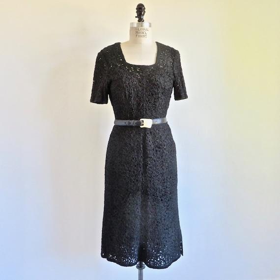 Vintage 1940's 50's Black Rayon Ribbon Knit Dress