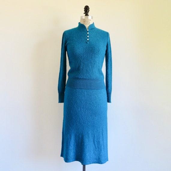 Vintage 1950's Teal Blue Knit Sweater and Skirt Se
