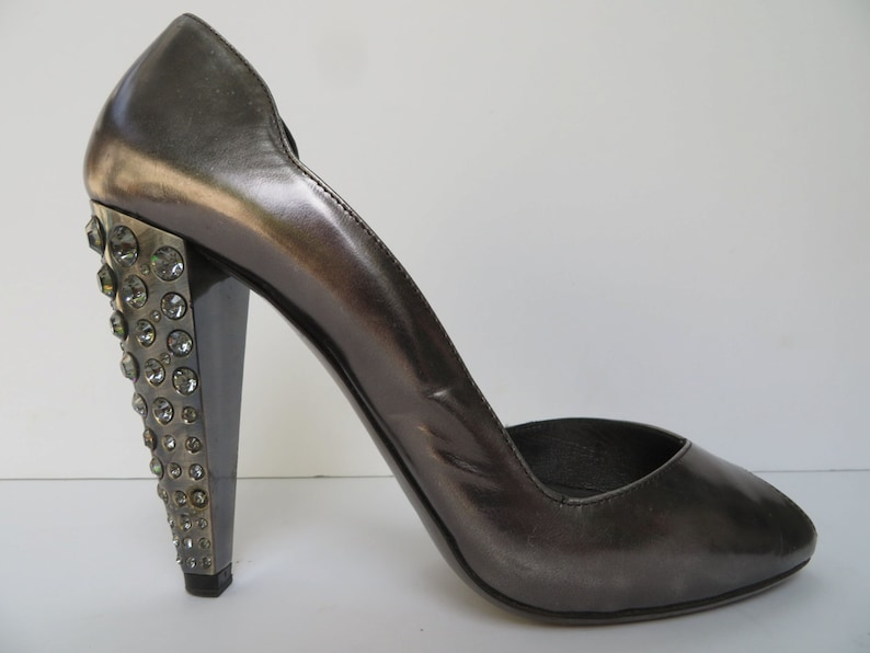 e9582dddaa5 Vintage Miu Miu Open Toe Pumps with Rhinestone Heels, Pewter Pumps, Size 37  1/2, 7US