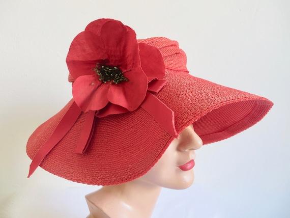 Vintage 1940's Coral Red Straw Wide Brim Hat Popp… - image 3