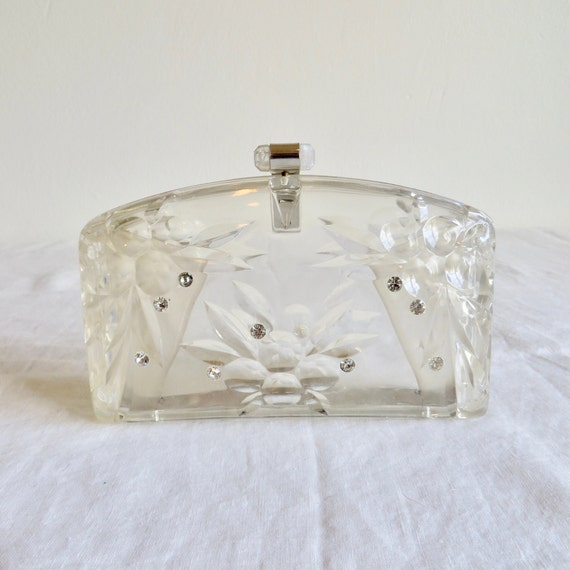 Vintage 1950's Clear Lucite Plastic Clutch with Rh