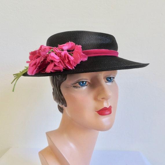 Vintage 1940's Black Straw Brimmed Sun Hat Magenta