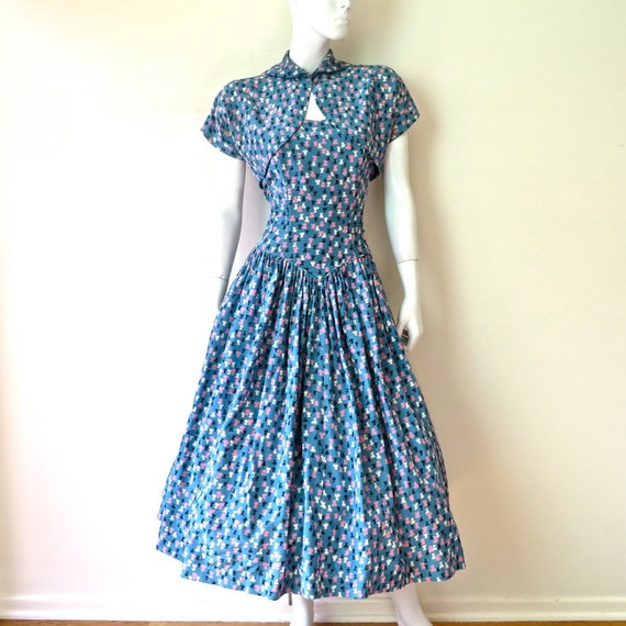 Vintage 1950's Blue Rayon Print Print Fit and Flar