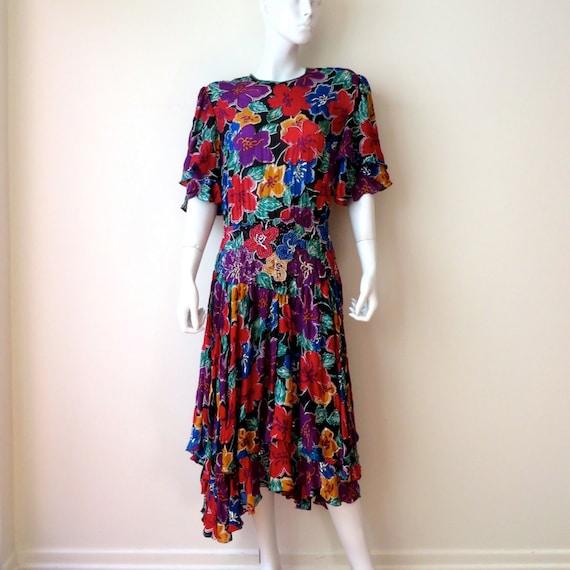 Deco Style Floral Silk Beaded Evening Dress Medium