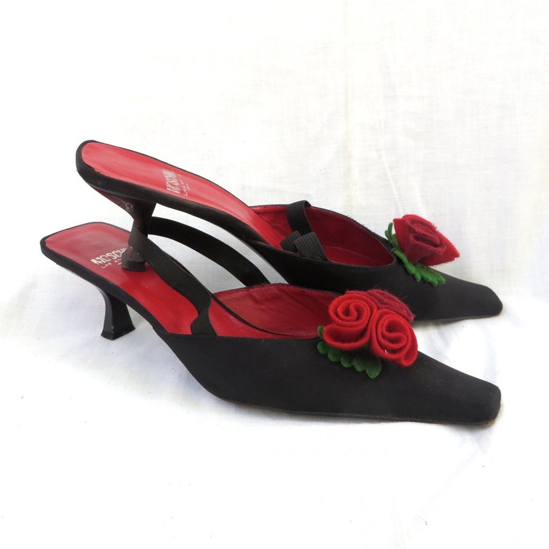 c089142a6e248 Vintage 1990's Moschino Black Satin Sling Back Kitten Heel Shoes with Red  Roses Trim, Size 40, 9.5US, Cheap and Chic