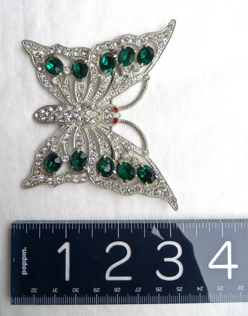 Vintage Art Deco Large Butterfly Brooch Pin with Green Rhinestones  Paste 1930/'s Jewelry