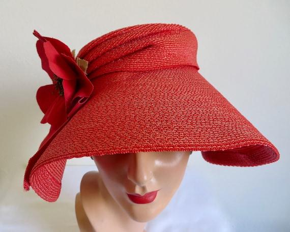 Vintage 1940's Coral Red Straw Wide Brim Hat Popp… - image 5