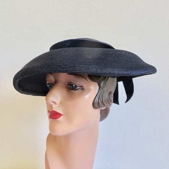 Vintage 1940's 50's Navy Blue Straw Wide Brim Hat