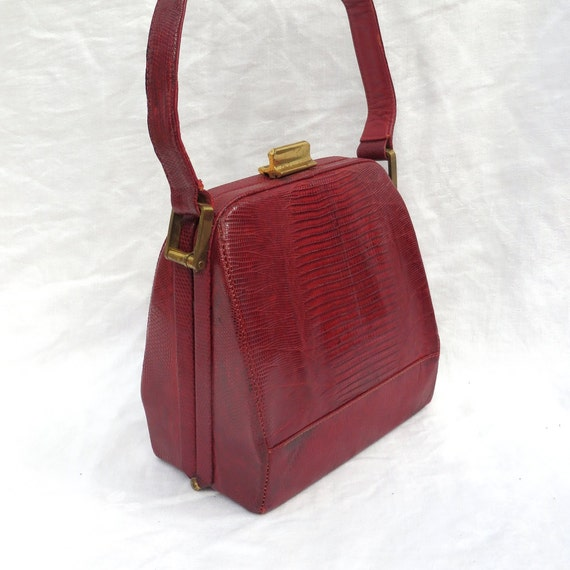Vintage 1940's Red Snakeskin Box Purse Handbag Top