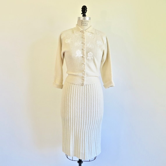 Vintage 1950's Ivory Creme Cardigan Sweater and Sk