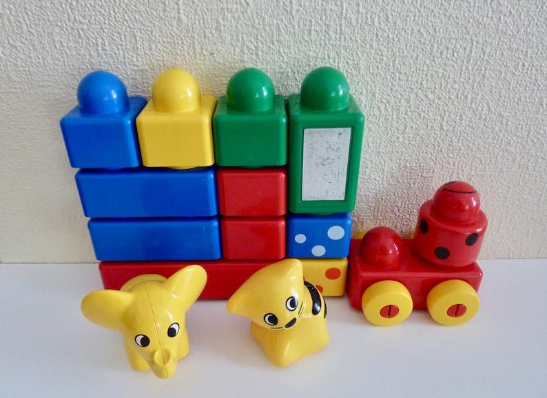 Vintage Lot of 15 Lego Primo Duplo Jumbo Baby Building Blocks, Elephant,  Cat, Rattle, Mirror, Block on Wheels