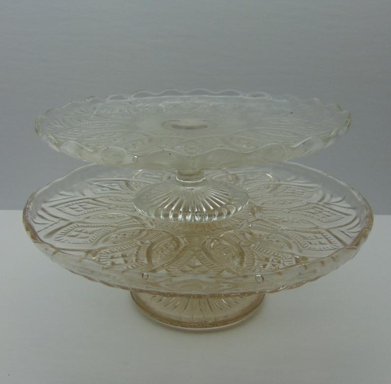 Set of 2 Cake Plates Vintage Pedestal Dessert Plates
