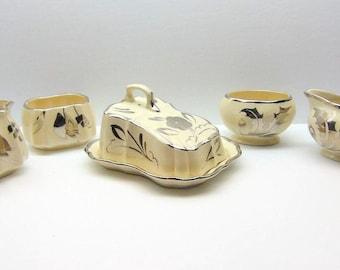 Vintage Sandland Ware Cream and Sugar Sets, Covered Butter Dish, Silver Leaf Lusterware Lancaster Hanley Staffordshire England,