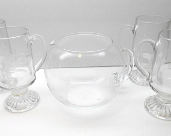 Vintage  Glass Pitcher Set