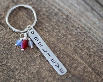 Motivational keychain - word of the year - mantra reminder - hand stamped custom keychain