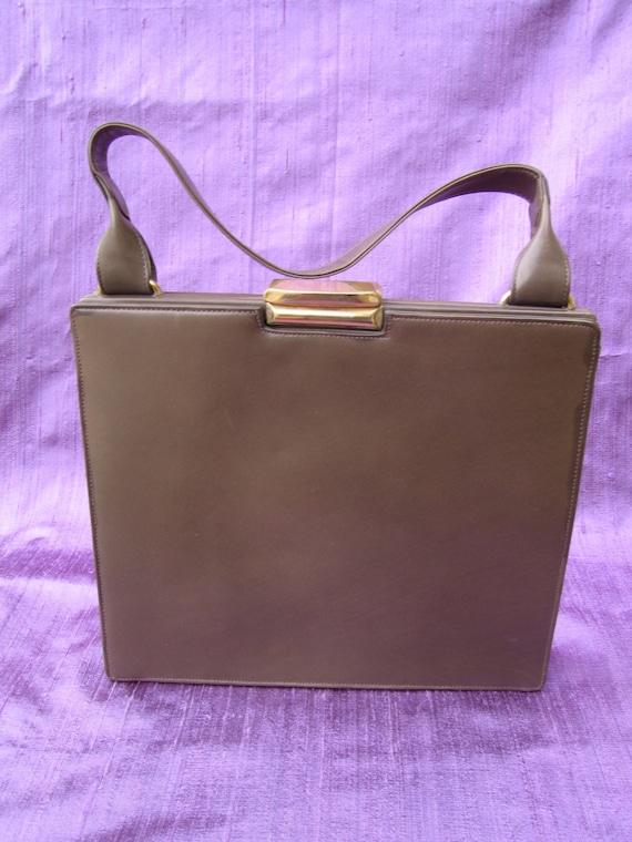 37. Cross mid-century modern leather handbag