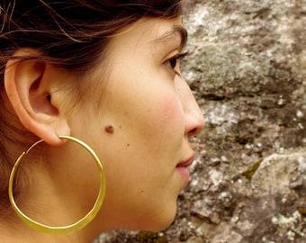 Big hoop earrings, flat back earring, golden hoops, large hoops
