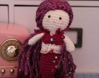 Purple mermaid Crochet Doll