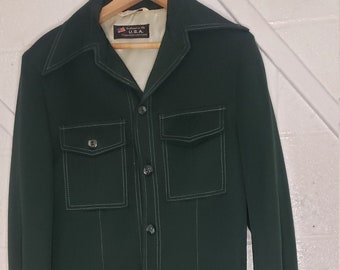 green suit, vintage suit, Anderson little, mens suit, 70s suit, retro suit, dark green suit, olive green suit,