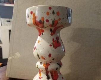 Vintage ceramic splatter candle holder stand
