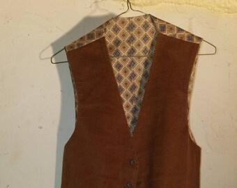 vintage mens western style coduroy vest