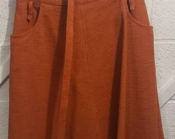 Dark Orange Pencil Skirt Circa 80/'s Skirt Wool Blend Skirt Long Skirt Burnt Sienna Fully LIned Front Pleated Skirt Size 6