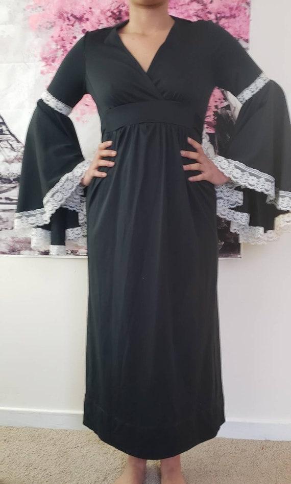 black dress, vintage black dress, flared sleeves,