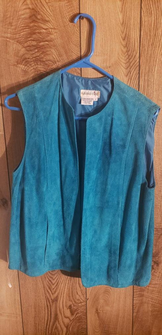 Blue vest, leather vest, blue leather vest, cowboy