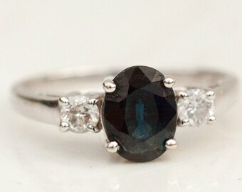 Vintage Oval Cut Genuine Blue Sapphire and Diamond Accent Ring in 14k Solid White Gold, Size 7 // Sapphire Engagement Ring //
