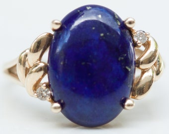 Vintage Large Oval Lapis with Diamond Accents and 14k Solid Yellow Gold Ring, Size 6