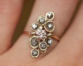 Vintage Freeform Navette Shield Ring Set in 14k Solid Yellow Gold With .62 Carats of Diamonds // Diamond Ring //