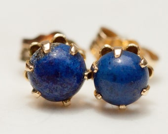 Estate 14k Solid Yellow Gold and Lapis Cabochon Stud Pierced Earrings
