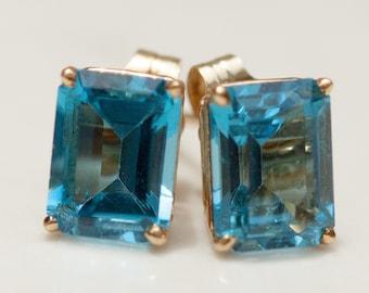 Estate 14k Solid Yellow Gold 4.80 Carat Total Gem Weight Blue Topaz Stud Pierced Earrings, Posts