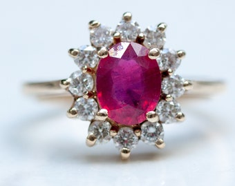 Estate 14k Solid Yellow Gold Diamond Ruby Cluster Halo Ring, Size 6.75 // July Birthstone // Engagement Ring //