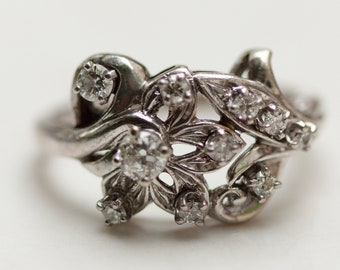 Midcentury Intricate Goldwork Diamond Cluster Ring in 14k Solid White Gold, Size 9