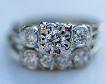 Vintage Midcentury 14k Solid White Gold and Diamond Wedding Set - Over One Carat Total Weight, Wedding Band, Engagement Ring