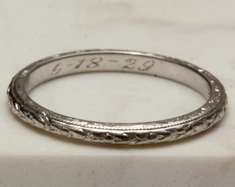 Antique Thin 18k Solid White Gold with Etching - Wedding, Anniversary, Stacking Band, Size 7, Engraved 1929