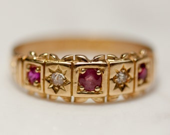 Vintage Diamond and Ruby Ring set in 18k Gold with Full British Hallmarks, Size 7 // Ornate // Low Profile //  Stacking Band //