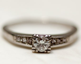 Vintage MidCentury Diamond Solitaire Engagement Ring in 14k Solid White Gold, Size 7.5 // 1950s // 50s style //