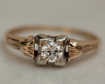 1930s Art Deco Diamond Illusion Setting Engagement Ring in 14k and 18k Solid White and Solid Yellow Gold, Size 6