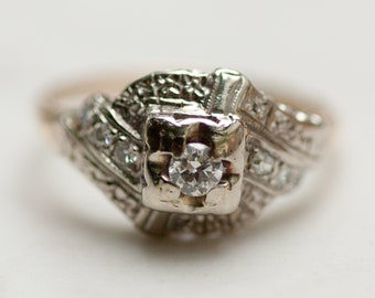 Art Deco Diamond Engagement Ring in 14k Solid White Gold and 14k Solid Yellow Gold, Size 7.5