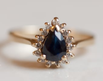 Vintage 14k Yellow Gold Diamond and Pear Blue Sapphire Halo Engagement Ring Size 6.75