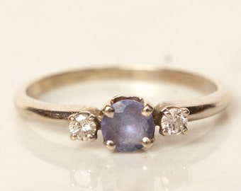 Estate Tanzanite and Diamond Accent 14k White Gold Ring, Size 4.5 // Promise Ring //