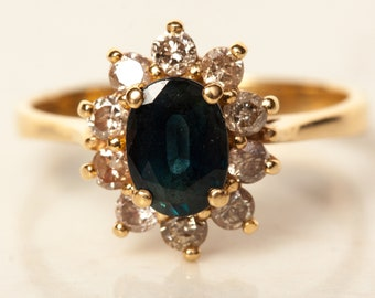 Vintage Large Sapphire and Diamond Halo Engagement Ring in 14k Solid Yellow Gold, Size 7 // Princess Di Ring // Kate Middleton Ring //