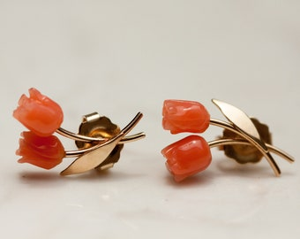 Coral Double Rose Stud Pierced Earrings in 14k Solid Yellow Gold