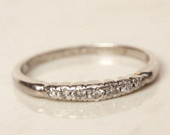 Vintage Diamond and Solid Platinum Wedding Anniversary Stacking Band, Size 5 - Hallmarked 1943 // Midcentury //