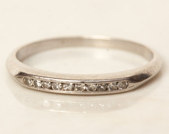 Vintage Diamond and Solid Platinum Wedding Anniversary Stacking Band, Size 5