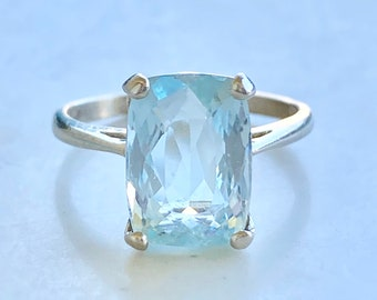 Aquamarine Halo Adjustable Ring Blue Emerald Cut Costume Jewelry Statement Piece Solitare Gifts for Her