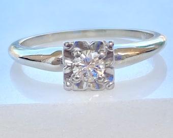 Diamond Engagement Ring 14k Gold, Rare Orange Blossom, Solitaire, Round Cut, .17 Ct., VS1, E, Size 6