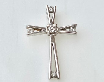 Diamond Cross Pendant 10k Gold for Necklace, .10 TCW Diamonds, Faith Symbol, White Gold, Vintage